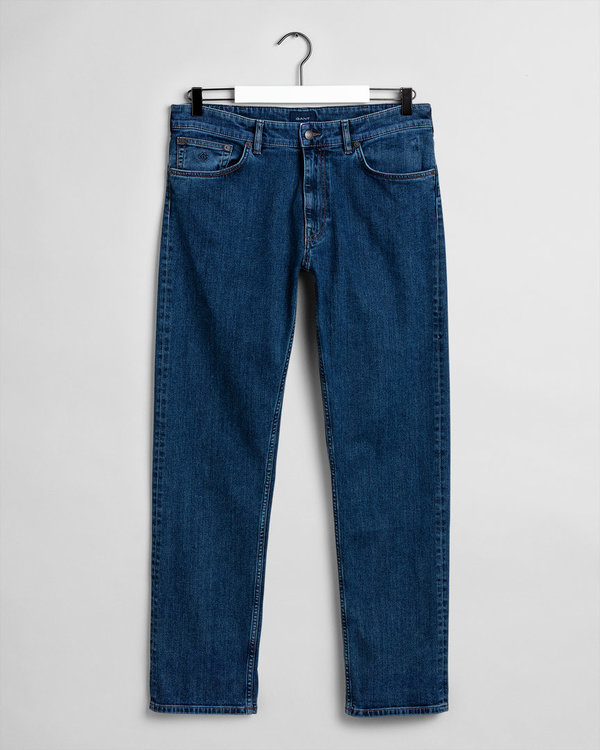 Gant, Regular 11 OZ Jeans, Dark Blue Broken